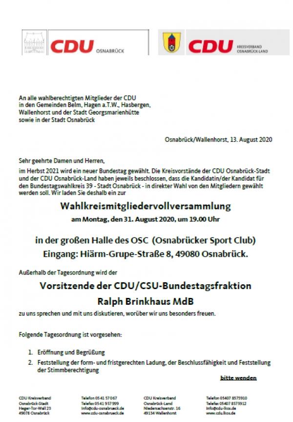 Wahlkreismitgliedervollversammlung am Montag, den 31. August 2020, um 19.00 Uhr
